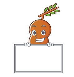 Grinning with board tamarind character cartoon vector