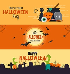 Hallowen flat designed banners vector