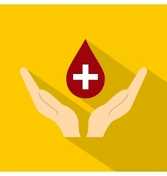 Hands holding blood drop icon flat style vector image