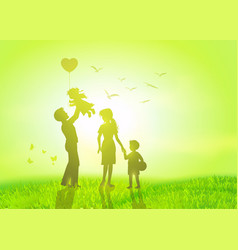 happy family at sunrise vector image