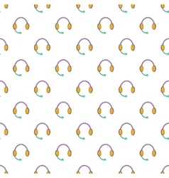 Headphones with microphone pattern cartoon style vector