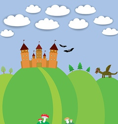 landscape with castle wizard Cartoon Dragon bats vector image