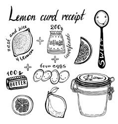 Lemon curd receipt hand vector