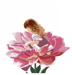 Little girl in a pink peony flower vector