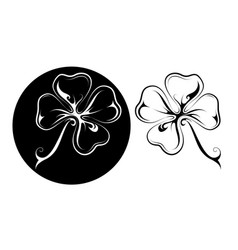 lucky four leaf clover tattoo in two variations vector image