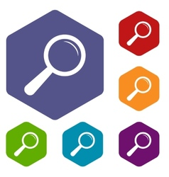 Magnifying glass rhombus icons vector image