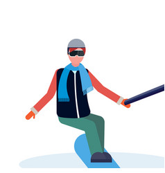 man snowboarder taking selfie by action camera vector image
