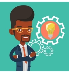 Man with business idea bulb in gear vector image