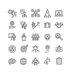Management business black thin line icon set vector