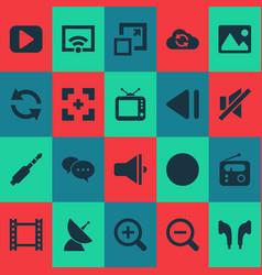 media icons set with image slow backward vector image