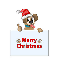 merry christmas card with cool dog in santa hat vector image