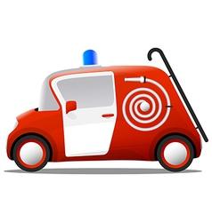 Mini cartoon red fire truck firefighter vector