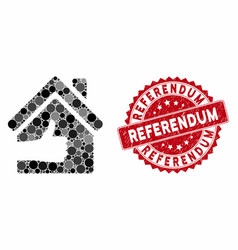 Mosaic excellent house with grunge referendum vector