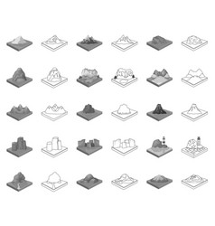 Mountains massive monochromeoutline icons in set vector