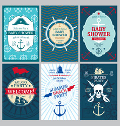 nautical baby shower birthday beach party vector image