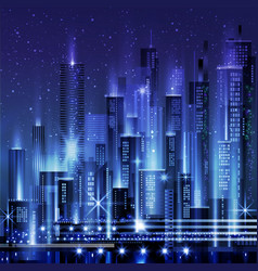 night city with neon glow and vivid vector image