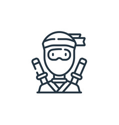 Ninja icon isolated on white background outline vector