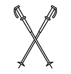 Nord walking sticks icon outline style vector