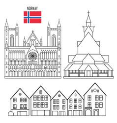 Norway set landmark icons vector