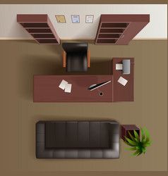 Office Work Room Top View Realistic vector