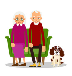 Older couple on the sofa sitting elderly woman vector