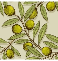 Olive branch engraving style seamless vector