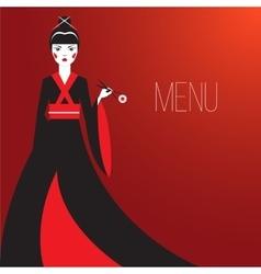 oriantal femme fatale in a long black kimono vector image