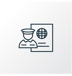 passport control icon line symbol premium quality vector image