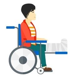 Patient sitting in wheelchair vector image