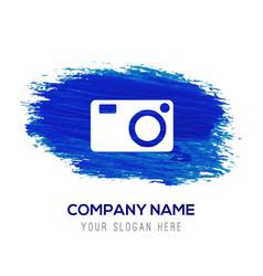 Photo camera icon - blue watercolor background vector