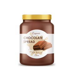 Realistic 3d detailed chocolate spread can jar vector