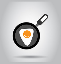 Realistic frying pan with egg icon in flat style vector