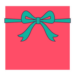 Red box and turquoise bow vector image
