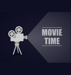 Retro movie projector on a blue background vector