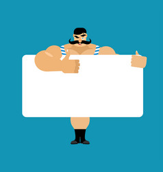 Retro strongman holding banner blank vintage vector