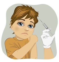 Sad little boy getting a vaccination vector image