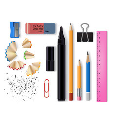 school and office realistic stationery or supplies vector image