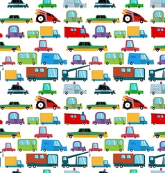 Seamless pattern with cartoon cars vector