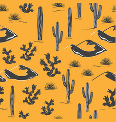 seamless pattern with desert landscape and cacti vector image