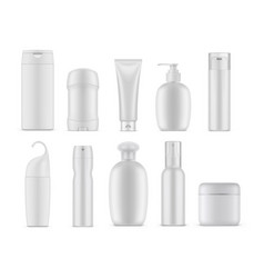 set isolated cosmetic or perfume containers vector image