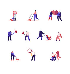 Set male and female characters cleaning snow vector