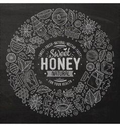 Set of Honey cartoon doodle objects vector