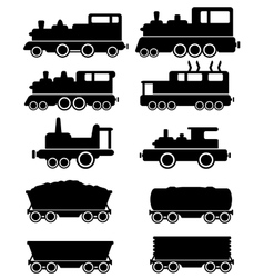 set train and railroad car vector image