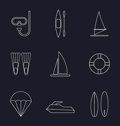 set water sport line icons isolated vector image