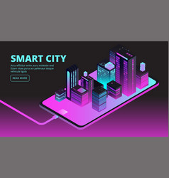 Smart city technology intelligent buildings in vector