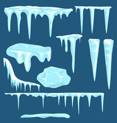 Snow icicles caps set vector