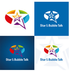 Star and bubble talk icon and logo vector
