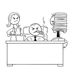 Stick man cartoon of a angry boss behind desk vector