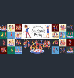 students pool alcohol party happy girls and boy vector image