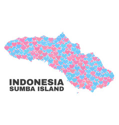 Sumba island map - mosaic of valentine hearts vector